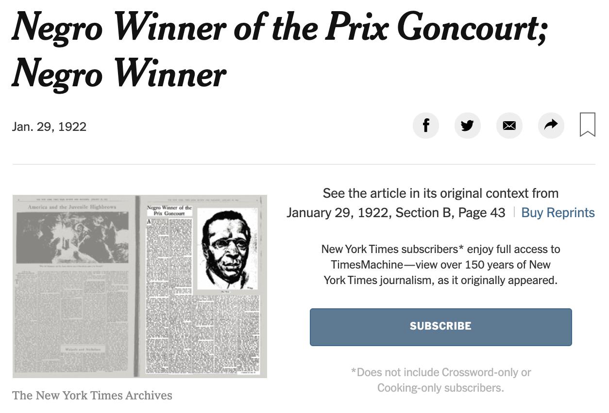 Negro Winner of the price Goncourt de T.R.Y   du New York Times