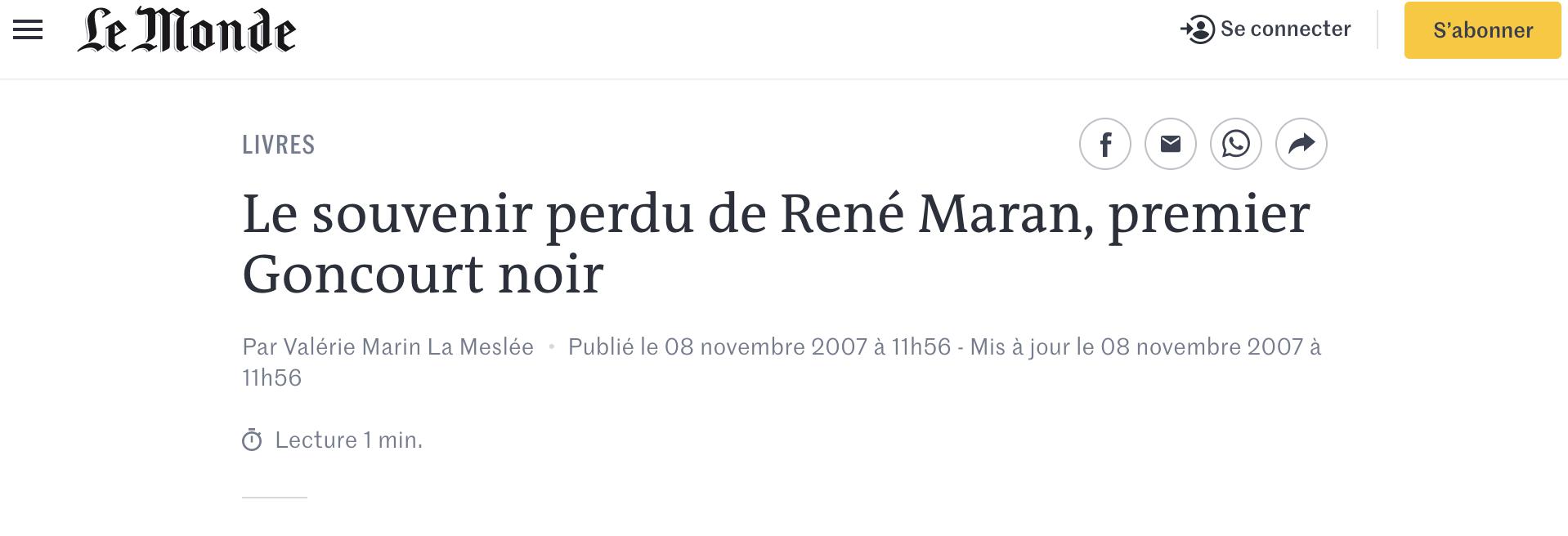 Le souvenir perdu de René Maran premier Goncourt noir