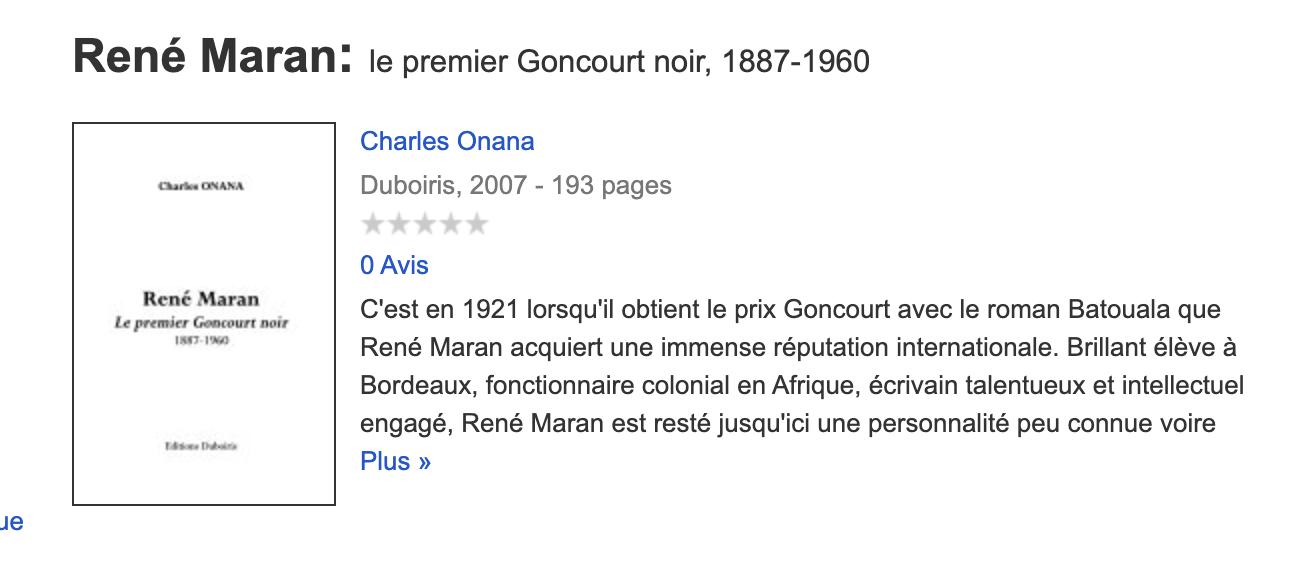 Présentation du livre RENE MARAN LE PREMIER GONCOURT NOIR de CHARLES ONANA