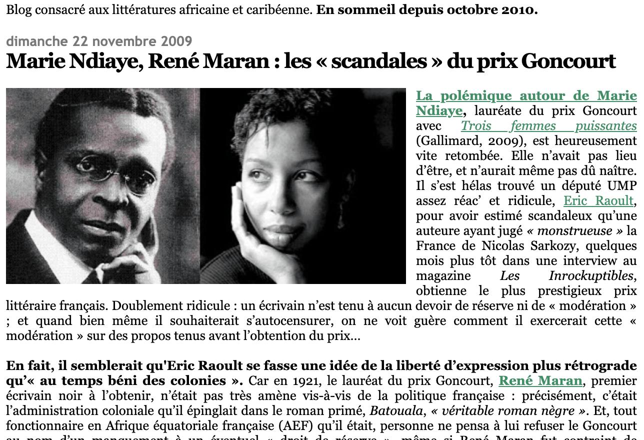 Marie Ndiaye, René Maran : les « scandales » du prix Goncourt