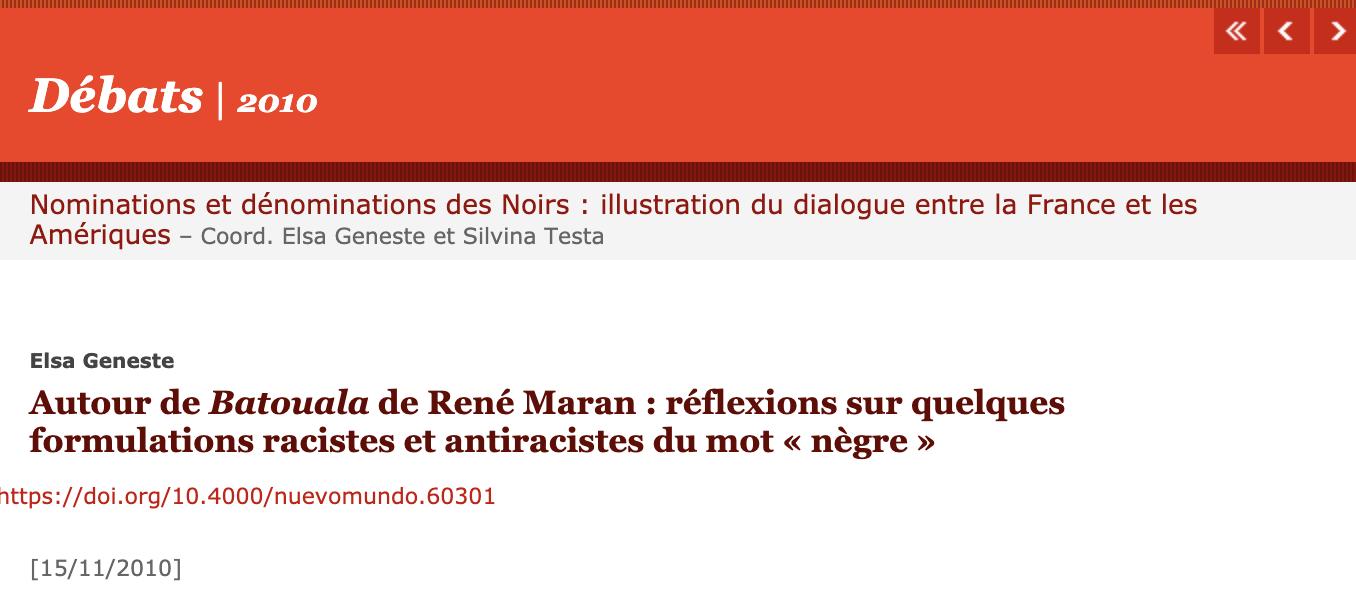 Article de Elsa Geneste « autour de Batoula et de René Maran : réflexions sur quelques formulations racistes et antiracistes du mot « nègre »