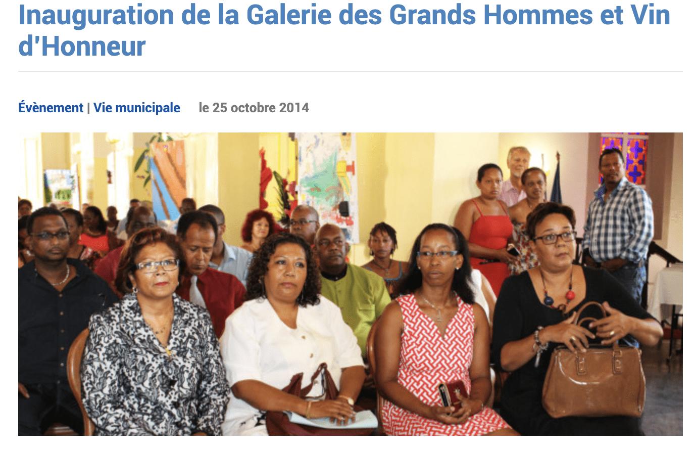 Inauguration de la galerie des Grands Hommes à Cayenne en octobre 2014