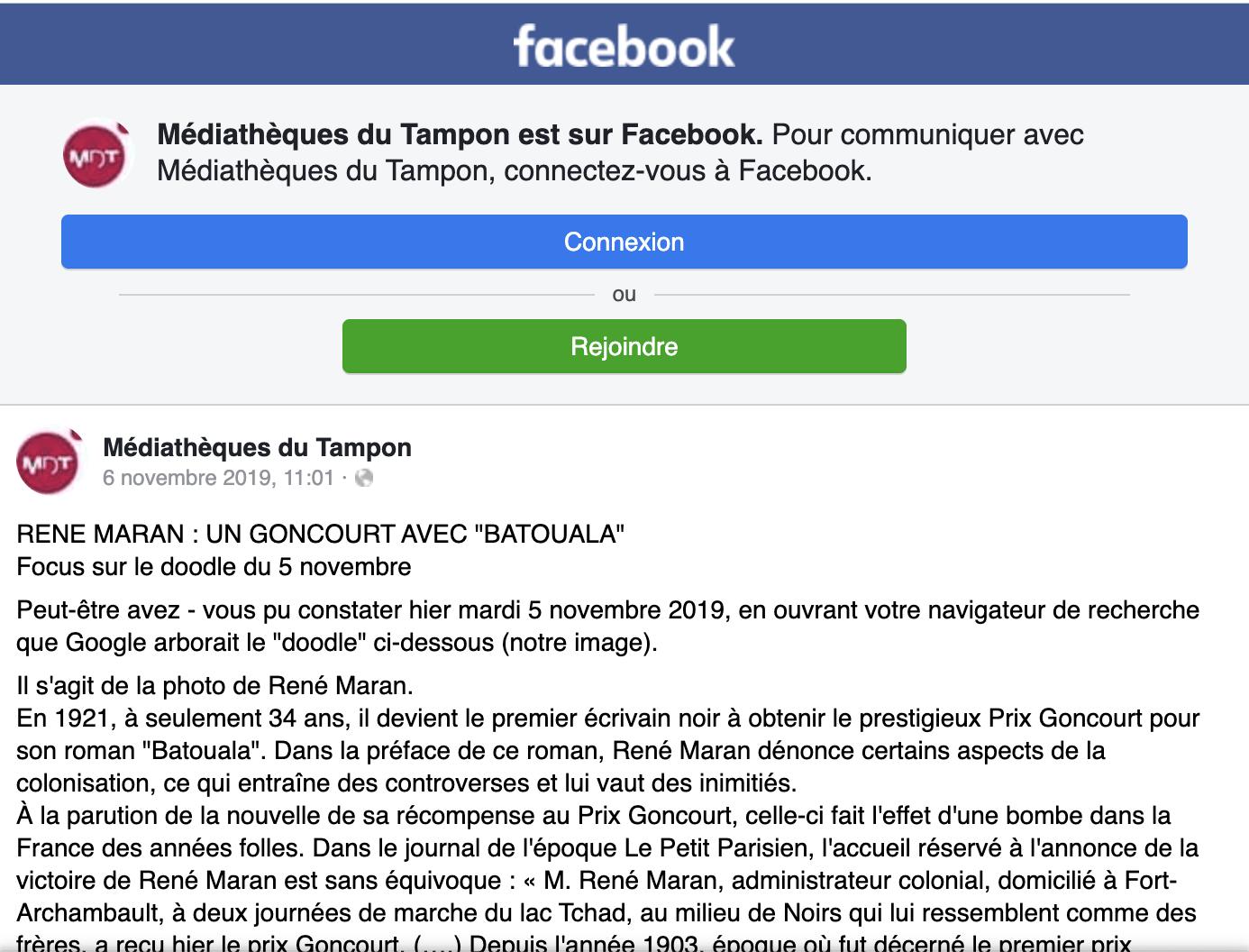 Médiathèque du Tampon : article sur le doodle du 5 novembre 2019