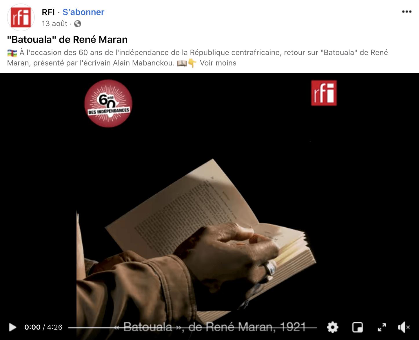 Emission d'Alain Mabanckou sur RFI