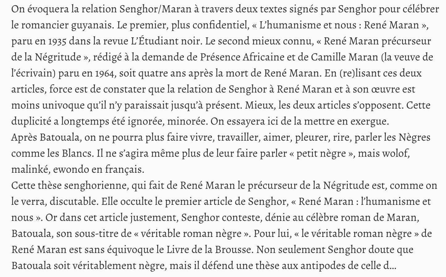 Article sur Liberté 1 de Senghor à propos de Batouala