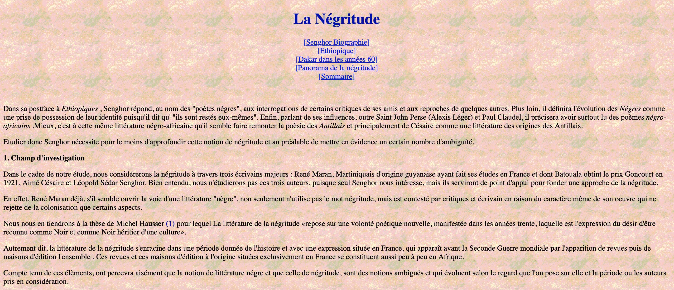 Extrait de Lettres Angevines par Y Jospeh Henri « La Négritude »