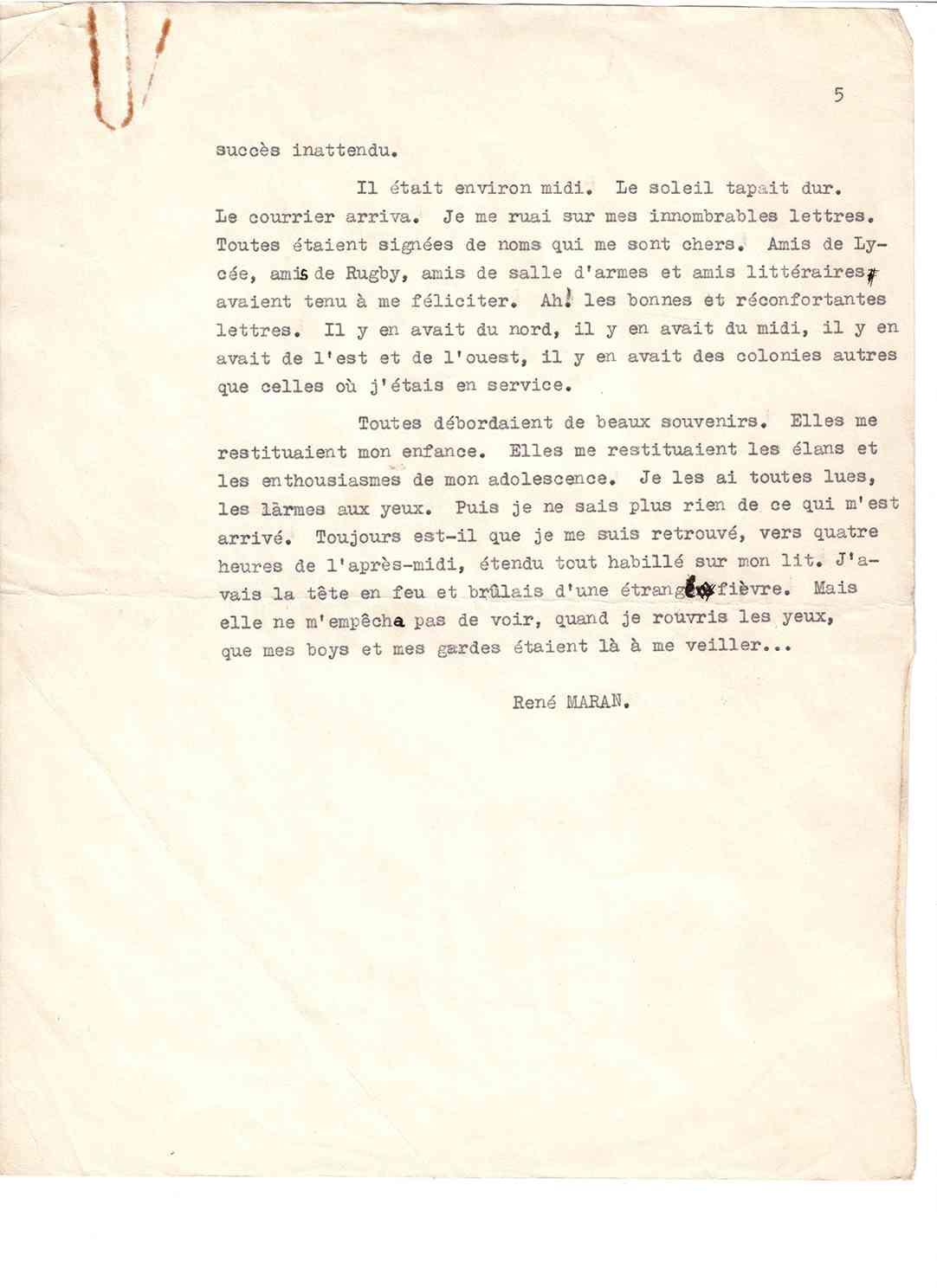 Causerie Page 5 Fin, René Maran