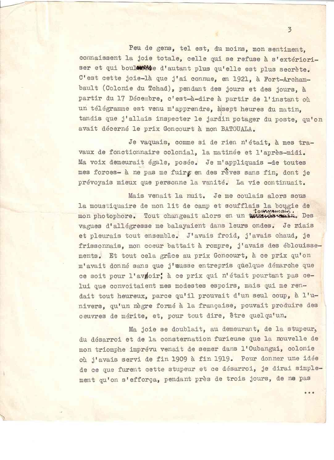 Causerie Page 3, René Maran