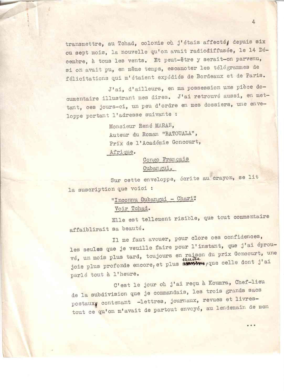 Causerie Page 4, René Maran