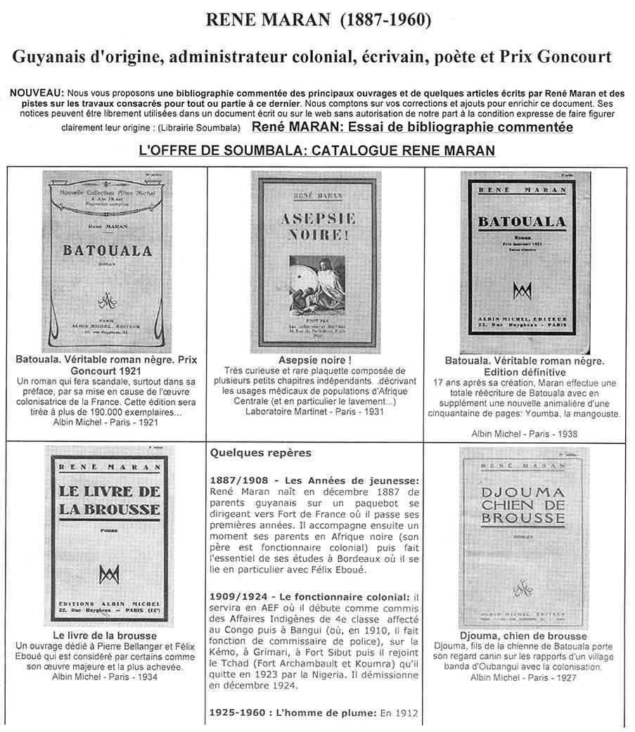 Loffre De Soumbala Catalogue Rene Maran Batouala, René Maran