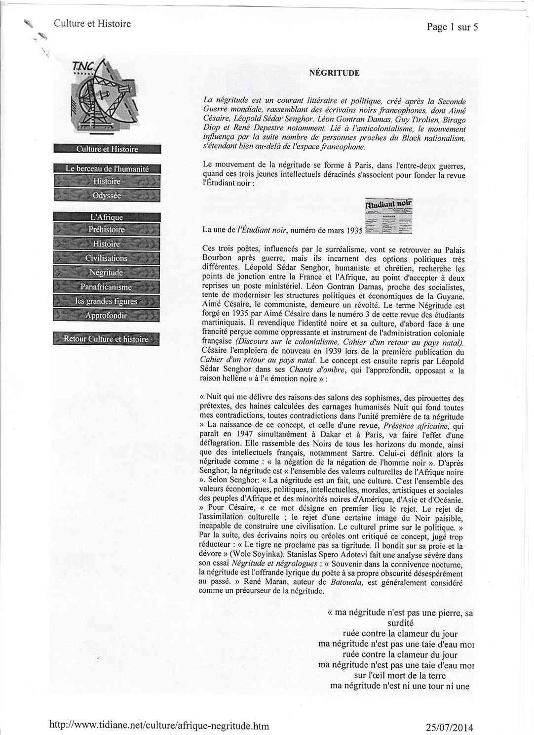 Page 1 Négritude, René Maran