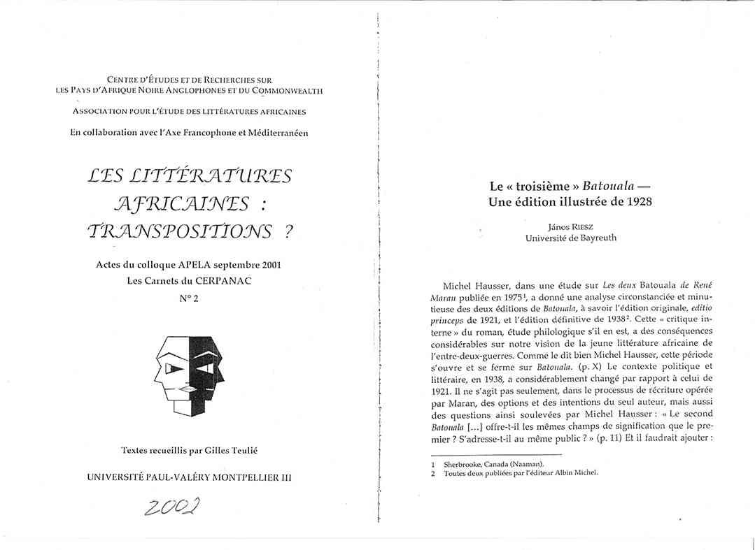 TROISIEME BATOUALA ARTICLE DE RANOS RIESZ Page De Garde Batouala 1 Sur 9 Les Pages 158 À 172 Suivent, René Maran