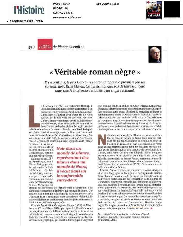 ARTICLE ASSOULINE, René Maran