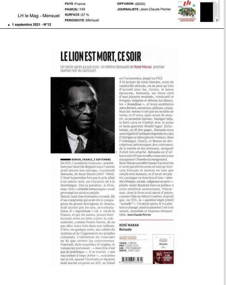 ARTICLE PERRIER, René Maran