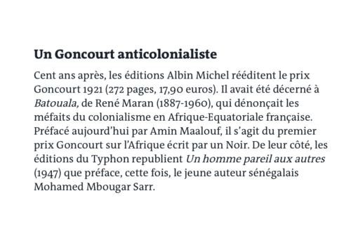 ARTICLE LE MONDE 500x349, René Maran