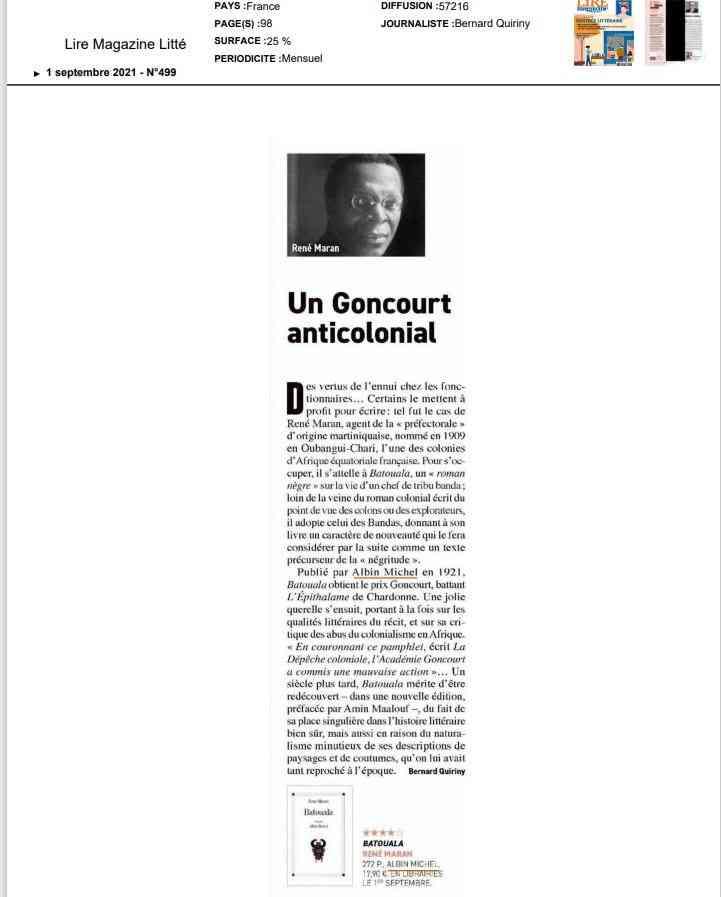 ARTICLE QUIRINY, René Maran